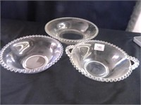 Candlewick Serving Bowls; (3)