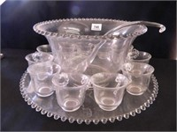 Candlewick Punch Bowl w/ 11 Cups