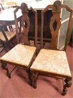 Wooden Chairs w/Fabric Seats (2)