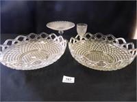 Lace Edge Bowls-(2); Pedestal Dish