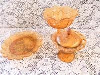 Amber Glass; Pedestal Dish