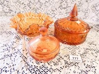 Amber Glass; Candy Dish w/lid