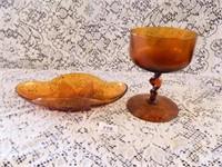Amber Glass; Oblong Bowl