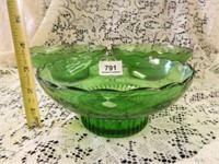 Green Glass Bowls; (3)