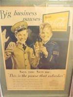 "Coca Cola Advertising, Framed, 17"" x 13"""