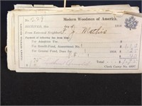 1911 - 1918 Modern Woodmen Receipts