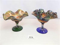 Carnival Glass Pieces, (2)