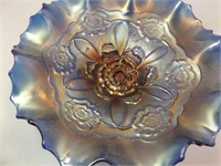 "Carnival Glass Blue Bowl, 9"""