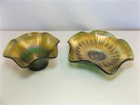 Carnival Glass Green Bowls (2)