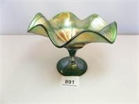 Carnival Glass Green Pedestal Bowl