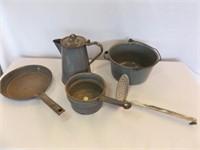 Enamelware, Gray, Kettle, Pans, Ladle (5)