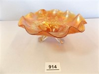 Carnival Glass Bowl, Cherry Design, Footed