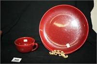 Burgundy Dishes; Evercraft and Bauer mark.