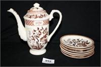 """Nasco """"Indian Tree"""" teapot with 6 tea plates"""