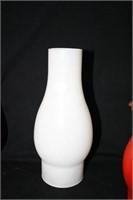 Glass Chimneys for oil lamps; 3 red 1 white