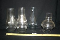 Glass Oil Lamp Chimneys (4 alike; 2 others)
