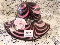 Art Glass Hat w/Flower Décor