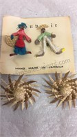 Vintage Made in Jamaica Pin Set and Clip On