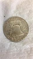 1955 Franklin Half Dollar & 6 Half Dollar Coins