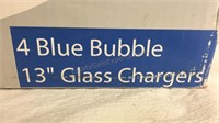 "Glass Studio 4 Blue Bubble Glass 13"" Chargers Set"