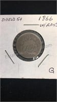 US 1866 Shield Nickel With Rays  G