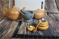 Lot of Nice Kitchen items Teapots Mortor