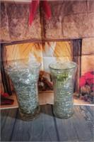 2 Large Vases full of Glass Rocks