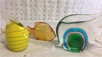 Trio of Glass Fish Paperweights/Decor