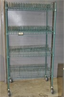 Green shelf unit with drying rack, 22x36x64