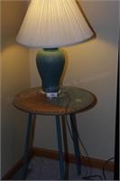 Teal lamp & yin yang end table