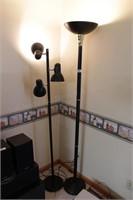 2 lamps (black floor & reading)