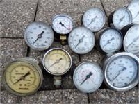 assorted pressure gauges