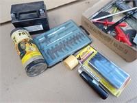 Exacto knife blade set, tire repair kit,  etc