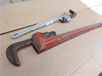 "2 Pipe Wrenches: 24"" aluminum, 36"" Toledo HD"
