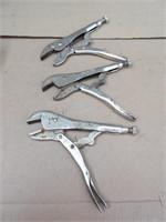 3 Pliers: 2 Vice Grip, 1 Locking