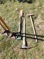 tampers, sledge, trench shovel & pick