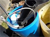 Blue poly barrel w/ boat parts
