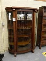 Oak Curved Glass China Cabinet w/ 4 Oak Shelves -