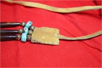 Turquoise Leather Choker Handmade