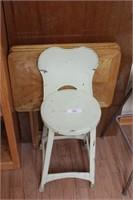 Green stool & upholstered stool (2 stools)