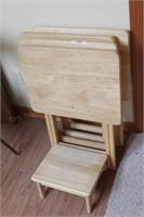 4 maple TV Trays & footstool