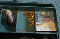 Metal tackle box & contents (Phleuger reel, hooks,