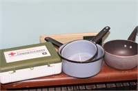 First Aid kit & 3 enamel camping pots