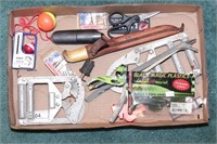 fishing accessories (fillet knife, scale, bobbers)