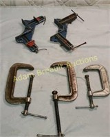 5 assorted clamps