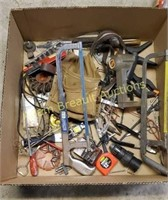 Box lot of tools - paxos, clamps, driver bits,