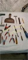 Box lot of tools - pop rivet tool, chainsaw