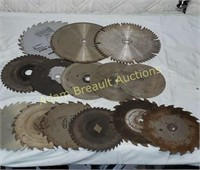 "14 assorted saw blades - 6.5"", 7.25"", 10"""