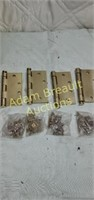 4 Hager USA polish brass 4.5 in brass hinges, new