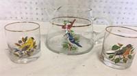 Vintage Glass Bird Pitcher w/2 Cocktail Glasses